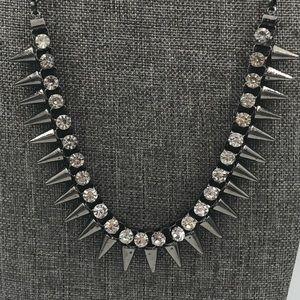 Gun Metal Crystal Spike Necklace